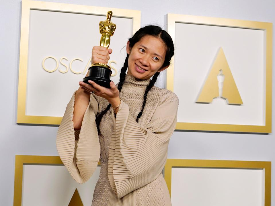 Chloé Zhao poses after winning the Academy Award for Best Picture for Nomadland (Chris Pizzello-Pool/Getty Images)