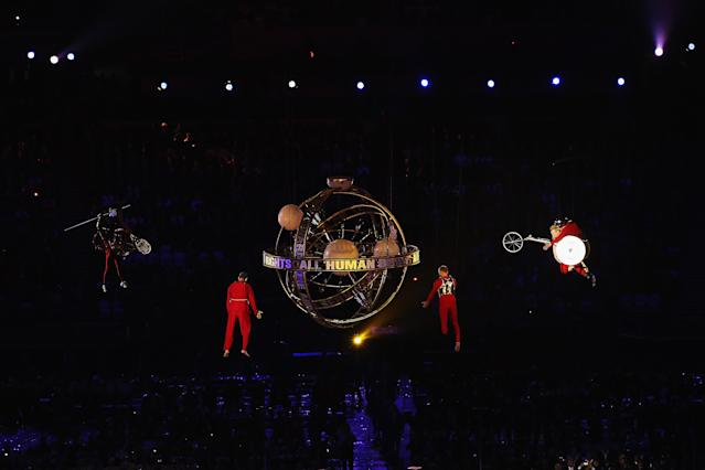 LONDON, ENGLAND - AUGUST 29: Artists perform during the Opening Ceremony of the London 2012 Paralympics at the Olympic Stadium on August 29, 2012 in London, England. (Photo by Hannah Johnston/Getty Images)