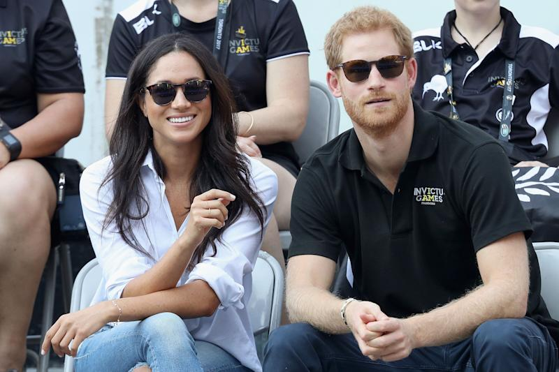"Harry and Meghan make their&nbsp;<a href=""https://www.huffingtonpost.ca/entry/meghan-markle-prince-harry-invictus-games_ca_5cd506e3e4b07bc7297411e3"" target=""_blank"" rel=""noopener noreferrer"">public debut as a couple</a> at the 2017 Toronto Invictus Games."