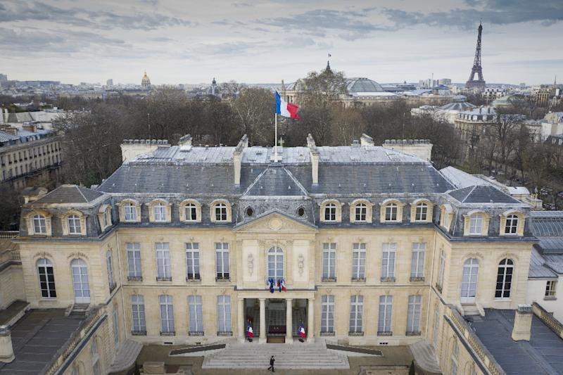 The Elysee Palace in Paris, office of the French president, with the Eiffel Tower across the River Seine visible in the background