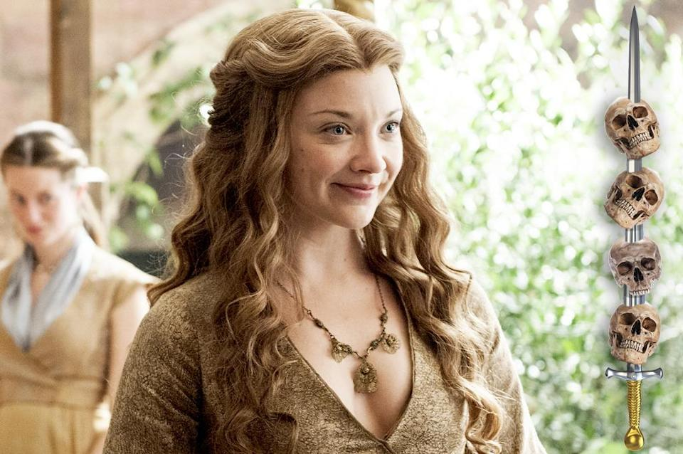 """<p>While Cersei womaned up and took up the High Sparrow's offer to do the """"Walk of Shame"""" (<a rel=""""nofollow"""" href=""""https://www.yahoo.com/tv/game-of-thrones-shame-nun-interview-152144137.html"""" data-ylk=""""slk:complete with bell-tolling nun;outcm:mb_qualified_link;_E:mb_qualified_link;ct:story;"""" class=""""link rapid-noclick-resp yahoo-link"""">complete with bell-tolling nun</a>), her duplicitous daughter-in-law is still under lock and key. It's hard to imagine the glamorous Margaery lowering herself to that kind of degradation, even with her life on the line. Her only exit strategy is Tommen's puppy love, and in this case, that may not be strong enough to conquer all. </p><p><i>(Credit: Helen Sloa/HBO)</i></p>"""