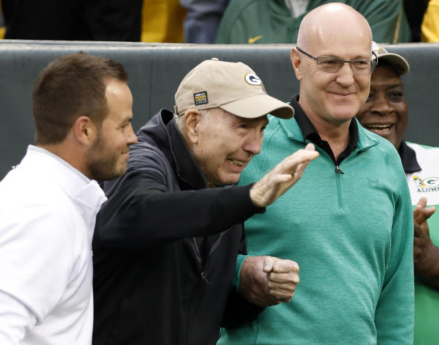 FILE - In this Oct. 22, 2017, file photo, former Green Bay Packers Hall of Fame quarterback Bart Starr waves to fans as he attends the 50th anniversary of Green Bay's 1967 championship team during the first half of NFL football game between the Green Bay Packers and the New Orleans Saints, in Green Bay, Wis. Starr, the Green Bay Packers quarterback and catalyst of Vince Lombardi's powerhouse teams of the 1960s, has died. He was 85. The Packers announced Sunday, May 26, 2019, that Starr had died, citing his family. He had been in failing health since suffering a serious stroke in 2014. (AP Photo/Jeffrey Phelps, File)