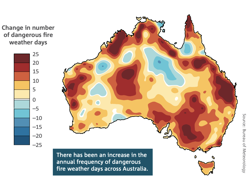 A map shows the increase in dangerous fires across Australia.