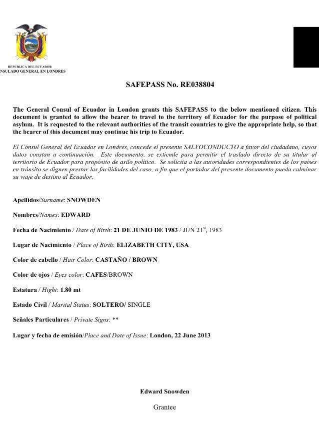 """The unsigned Ecuadorian """"safe pass"""" travel document that Assange obtained for Snowden."""