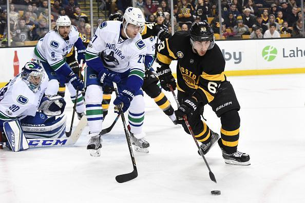 "<a class=""link rapid-noclick-resp"" href=""/nhl/players/4351/"" data-ylk=""slk:Brad Marchand"">Brad Marchand</a> of the <a class=""link rapid-noclick-resp"" href=""/nhl/teams/bos/"" data-ylk=""slk:Boston Bruins"">Boston Bruins</a> handles the puck against <a class=""link rapid-noclick-resp"" href=""/nhl/players/5837/"" data-ylk=""slk:Ben Hutton"">Ben Hutton</a> of the <a class=""link rapid-noclick-resp"" href=""/nhl/teams/van/"" data-ylk=""slk:Vancouver Canucks"">Vancouver Canucks</a> at the TD Garden on February 11, 2017 in Boston, Massachusetts. (Getty Images)"