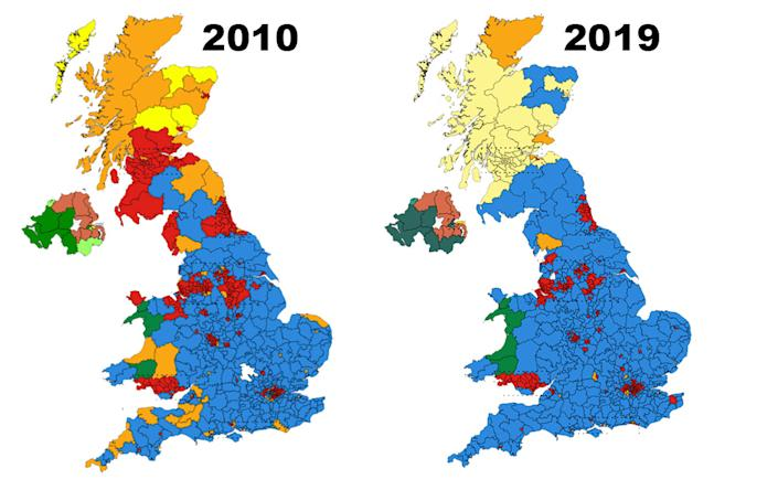 Constituency maps. (2019 map Brythones, recoloured by Ezzatam - Wikipedia. 2010 map - unknown). Licensing: https://creativecommons.org/licenses/by-sa/4.0/deed.en