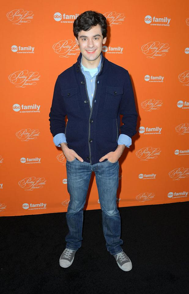 """Brendan Robinson arrives at the screening of ABC Family's """"Pretty Little Liars"""" Special Halloween Episode at Hollywood Forever Cemetery on October 16, 2012 in Hollywood, California."""