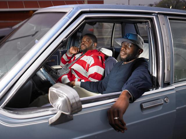 "<p>""James Watson and Jeremiah Perry, both lifelong Republicans, sit in Perry's new car outside the liquor store where Michael Brown was last seen. They both agreed that had a woman been running on the Republican ticket, they wouldn't have voted for her. (They wouldn't, in fact, vote for a woman period.) They were for Trump."" (Photograph and caption by Naomi Harris) </p>"