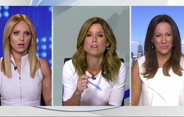 Amber Sherlock and Julie Snook had an awkward encounter before going to air. Photo: Channel Nine
