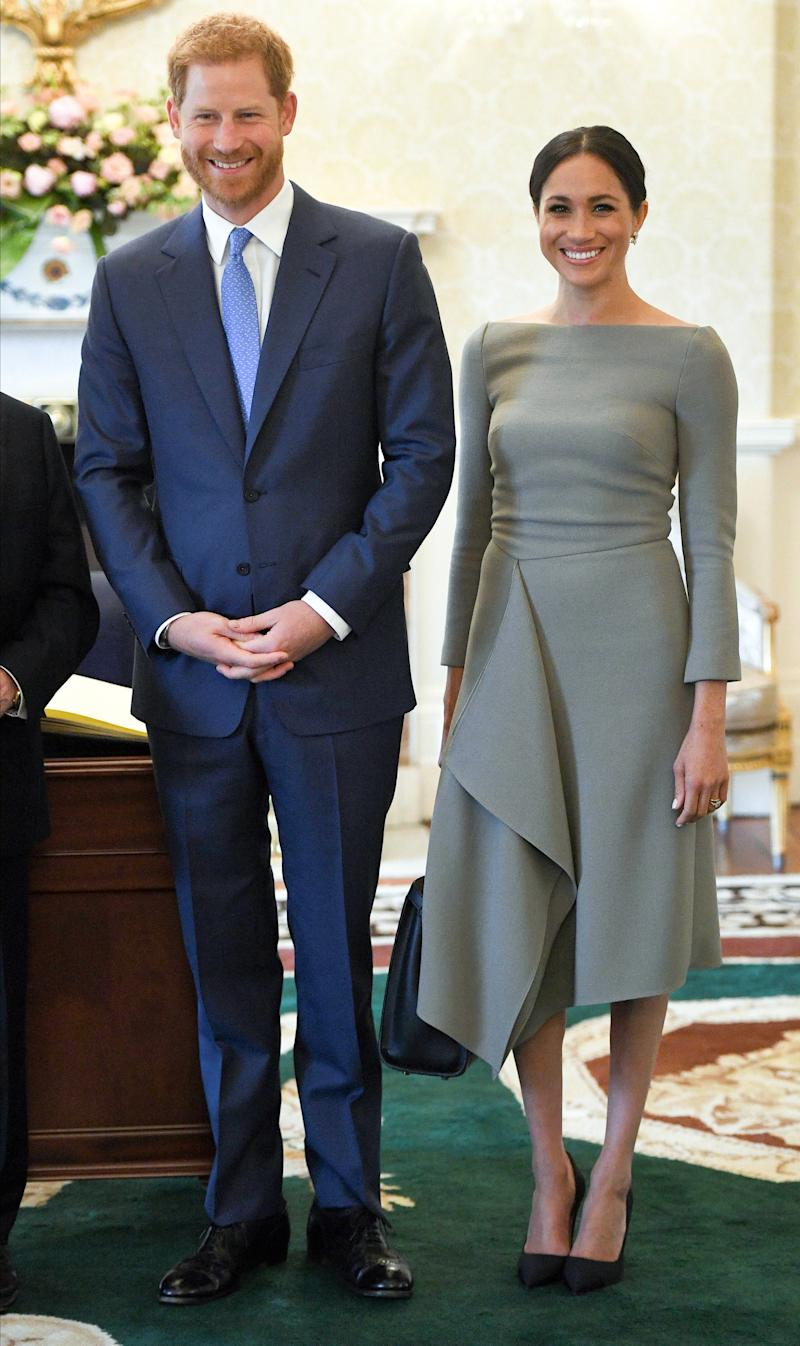 Prince Harry, Duke of Sussex and Meghan, Duchess of Sussex visit Irish President Michael Higgins and his wife Sabina Coyne at Aras an Uachtarain during their visit to Ireland on July 11, 2018 in Dublin, Ireland.