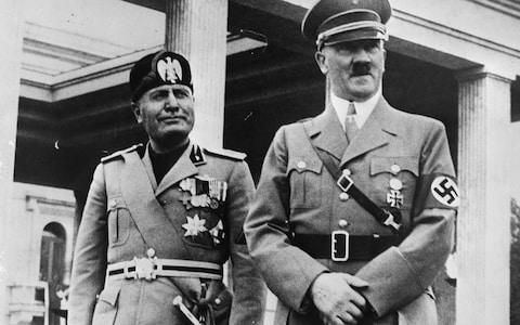 Italian fascist dictator Benito Mussolini (1883 - 1945) and Adolf Hitler (1889 - 1945)