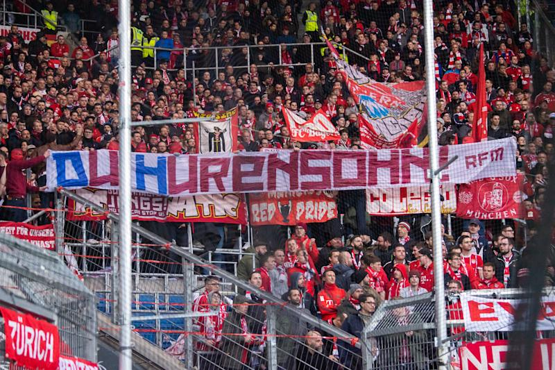 "Bayern Munich fans' ""Hurensohn"" banner from Saturday's match at Hoffenheim has been the flashpoint of growing controversy. (Photo by Tom Weller/picture alliance via Getty Images)"