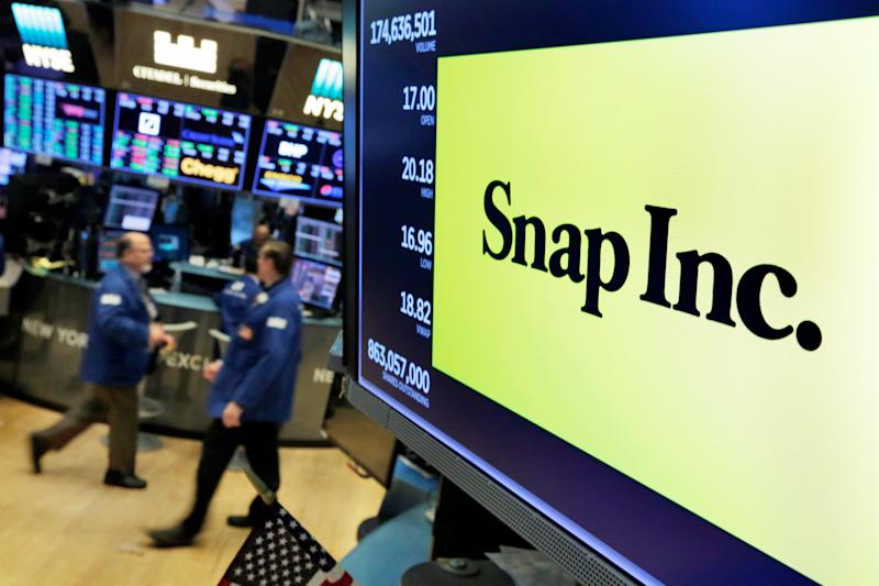 The logo for Snap Inc. appears above a trading post on the floor of the New York Stock Exchange, Wednesday, Feb. 7, 2018. Nearly a year after its initial public offering and lackluster growth, the company behind Snapchat is making a comeback, calming investor fears that the disappearing photo and video app is a mere has-been destined to get trampled by Facebook. (AP Photo/Richard Drew)