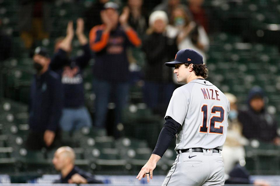 Casey Mize #12 of the Detroit Tigers gestures after he was taken out of the game during the eighth inning against the Seattle Mariners at T-Mobile Park on May 17, 2021.