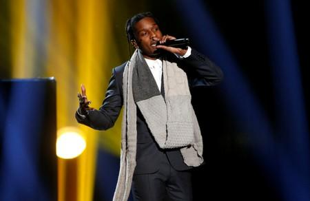 "FILE PHOTO: A$AP Rocky performs ""I'm Not the Only One"" with Sam Smith during the 42nd American Music Awards in Los Angeles"