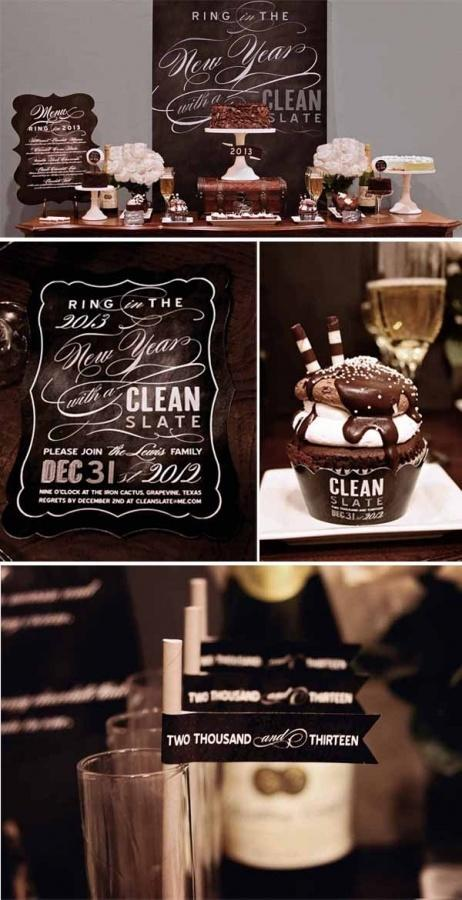 """<div class=""""caption-credit""""> Photo by: Loralee Lewis</div><div class=""""caption-title"""">Pick a Color Scheme</div>Every party needs a theme and a color scheme. This black and white clean-slate theme is one simple, chic idea. (Another year, another chance to wipe the slate clean!) <br> <a href=""""http://www.babble.com/babble-voices/celebrations-with-design-mom-gabrielle-blair/2012/12/21/new-years-celebrations/?cmp=ELP