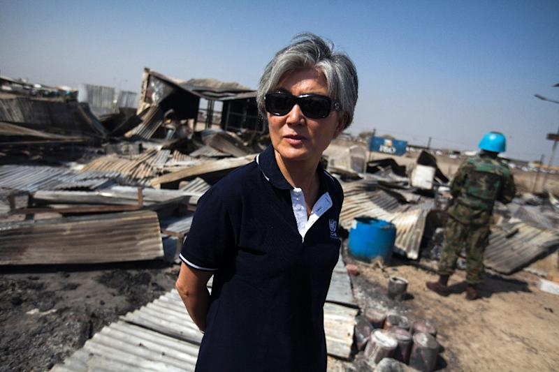 South Korea's newly-appointed foreign minister Kang Kyung-Wha visiting Sudan in her former role as the United Nations Assistant Secretary-General for Humanitarian Affairs (AFP Photo/Albert Gonzalez Farran)