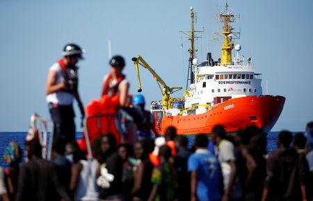 FILE PHOTO: MV Aquarius rescue ship is seen as migrants are rescued by SOS Mediterranee organisation in the Mediterranean Sea