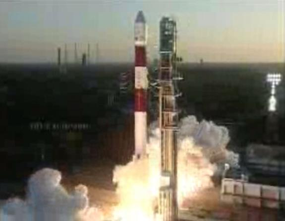 An India Space Research Organisation PSLV rocket (Polar Satellite Launch Vehicle) launches seven satellites from the Satish Dhawan Space Centre in Sriharikota, India, on Feb. 25, 2013. The rocket carried an ocean-monitoring satellite for India,