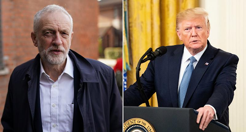 Jeremy Corbyn has accused Donald Trump of trying to interfere in the general election