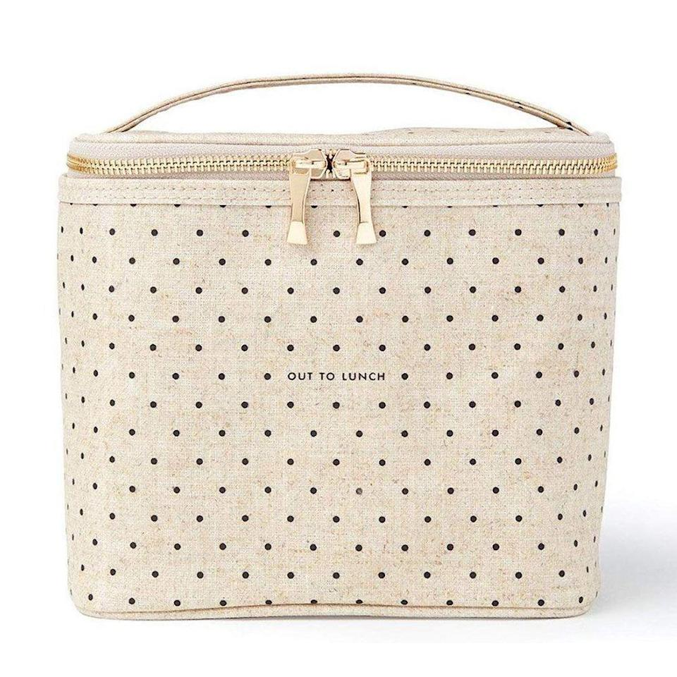 """<p><strong>Kate Spade New York</strong></p><p>amazon.com</p><p><strong>$29.95</strong></p><p><a href=""""https://www.amazon.com/dp/B07R24854F?tag=syn-yahoo-20&ascsubtag=%5Bartid%7C2141.g.23308279%5Bsrc%7Cyahoo-us"""" rel=""""nofollow noopener"""" target=""""_blank"""" data-ylk=""""slk:Shop Now"""" class=""""link rapid-noclick-resp"""">Shop Now</a></p><p>Did someone say lunch? Not only does this bag have a cute pattern on the outside with an """"Out to Lunch"""" motto, it'll also keep Mom's lunch cold with an insulated lining. It's <a href=""""https://www.prevention.com/life/g30261060/gifts-for-nurses/"""" rel=""""nofollow noopener"""" target=""""_blank"""" data-ylk=""""slk:perfect for a nurse"""" class=""""link rapid-noclick-resp"""">perfect for a nurse</a> or any essential worker who is out and about right now. </p>"""