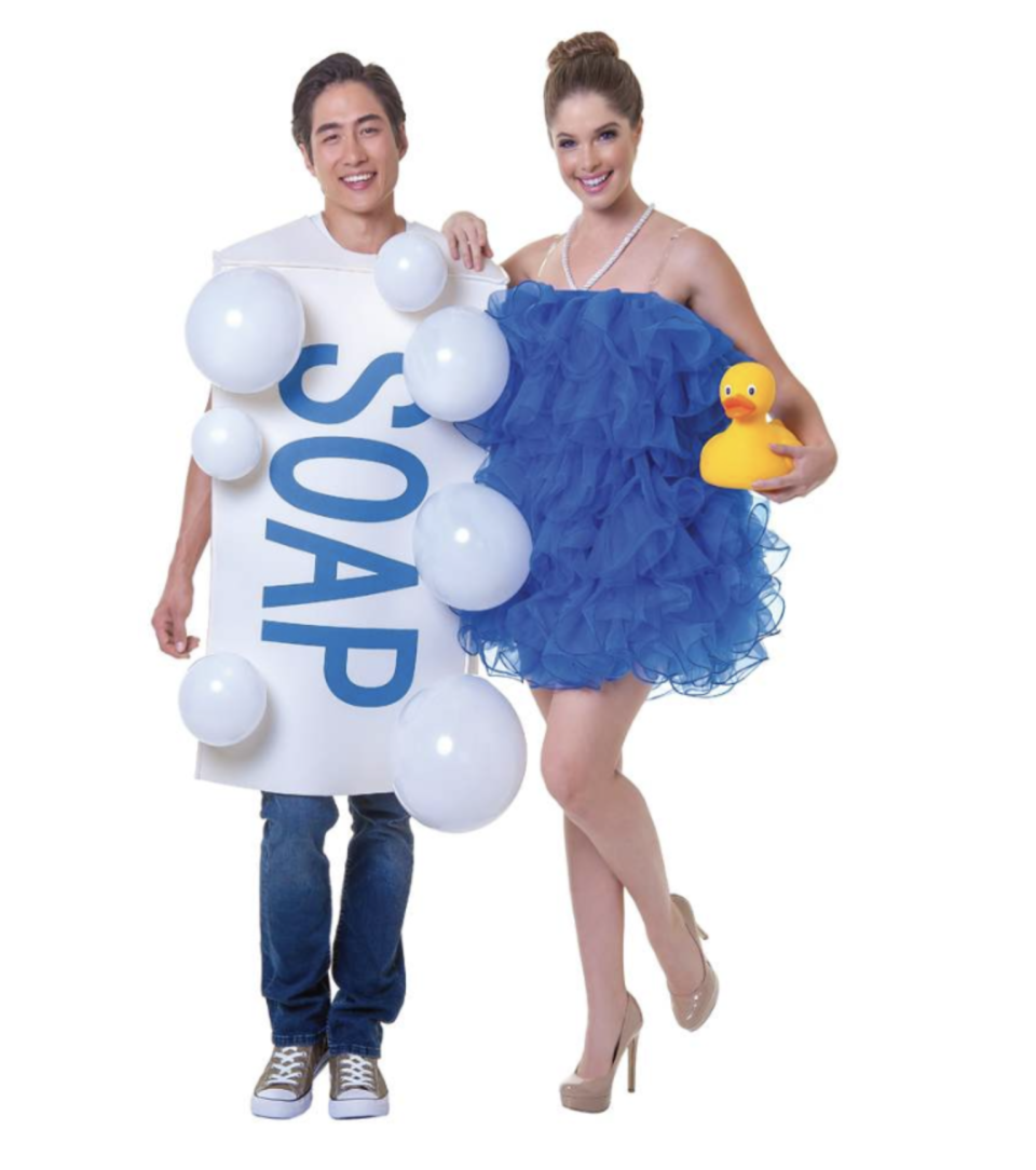 white Soap with bubbles and blue Loofah Couples Costume