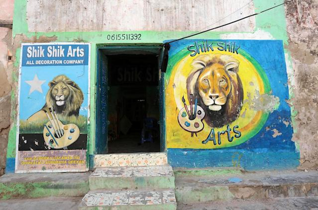 <p>A mural shows lions on a wall of the Shik Shik art shop in Hamarweyne district of Mogadishu, Somalia, June 8, 2017. (Photo: Feisal Omar/Reuters) </p>