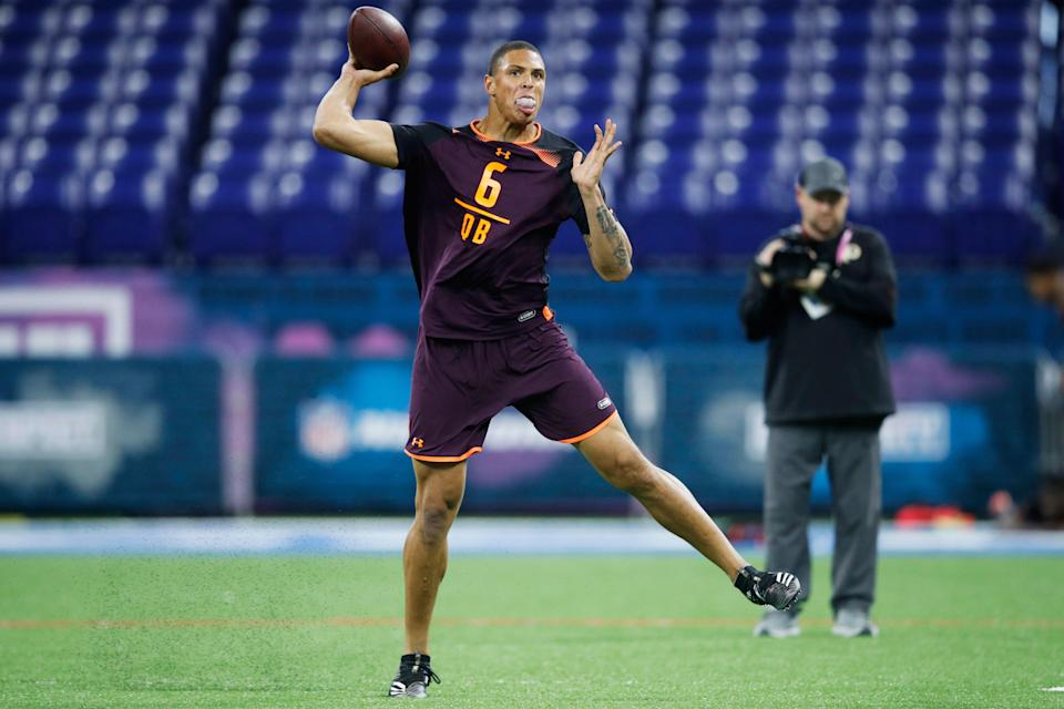 INDIANAPOLIS, IN - MARCH 02: Quarterback Tyree Jackson of Buffalo in action during day three of the NFL Combine at Lucas Oil Stadium on March 2, 2019 in Indianapolis, Indiana. (Photo by Joe Robbins/Getty Images)