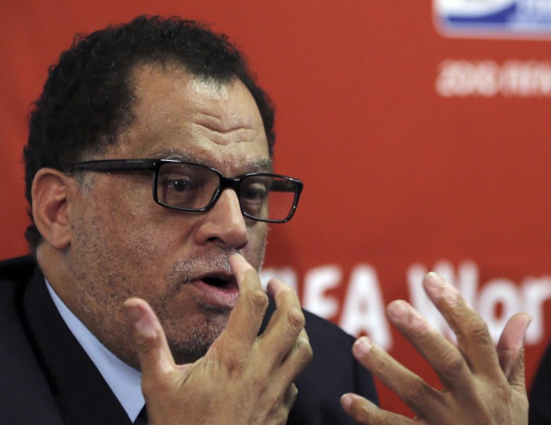 FILE - In this file photo dated Friday Jan. 18, 2013, South African sports administrator Danny Jordaan, speaks during the 2010 FIFA World Cup Legacy Trust media conference in Johannesburg, South Africa. After denying corruption and rape allegations, the chief organizer of South Africa's 2010 World Cup is one of five candidates set to stand in an election Sunday, Sept. 30, 2018 for a place on the FIFA Council. Africa needs a new member on the council to replace Ghana's Kwesi Nyantakyi, who resigned after being implicated in an undercover documentary taking a prohibited cash gift of $65,000. Jordaan, president of the South African soccer federation, is one of five candidates for the vote at a Confederation of African Football meeting in Sharm El Sheikh, Egypt, along with Tanzanian administrator and former international player Leodegar Tenga, Seychelles federation head Elvis Chetty, Kenyan entrepreneur Nick Mwendwa, and former Malawi player Walter Nyamilandu.(AP Photo/Themba Hadebe, file)