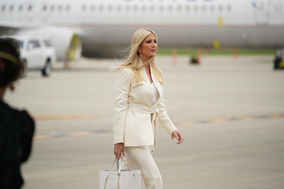 Advisor to the President Ivanka Trump arrives, with US President Donald Trump and First Lady Melania Trump as they step off Air Force One upon arrival at Cleveland Hopkins International Airport in Cleveland, Ohio on September 29, 2020. - President Trump is in Cleveland, Ohio for the first of three presidential debates. (Photo by MANDEL NGAN / AFP) (Photo by MANDEL NGAN/AFP via Getty Images)