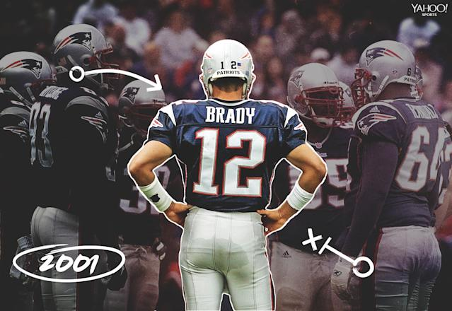 "<a class=""link rapid-noclick-resp"" href=""/nfl/players/5228/"" data-ylk=""slk:Tom Brady"">Tom Brady</a>'s first game as a starter came on Sept. 30, 2001, against the <a class=""link rapid-noclick-resp"" href=""/nfl/teams/indianapolis/"" data-ylk=""slk:Indianapolis Colts"">Indianapolis Colts</a>. (Getty Images)"