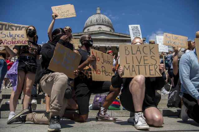 Protests in Trafalgar Square, London, over the weekend. (PA)