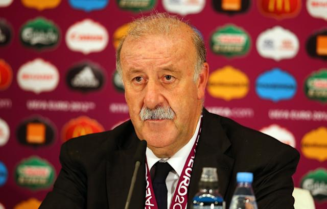 KIEV, UKRAINE - JULY 01: In this handout image provided by UEFA, Coach Vincente Del Bosque of Italy talks to the media after the UEFA EURO 2012 Final match between Spain and Italy at the Olympic Stadium on July 1, 2012 in Kiev, Ukraine. (Photo by Handout/UEFA via Getty Images)