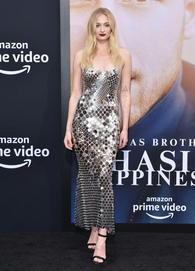 "<p>To support her <a href=""https://www.elle.com/uk/life-and-culture/g28321472/sophie-turner-and-joe-jonas-a-list-couples-best-looks/"" rel=""nofollow noopener"" target=""_blank"" data-ylk=""slk:husband Joe Jonas"" class=""link rapid-noclick-resp"">husband Joe Jonas</a> at the screening of the Jonas Brothers documentary, Turner wore a chainmail dress bu Paco Rabanne.</p>"