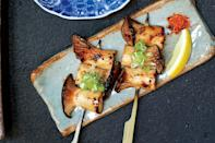 """If king trumpet mushrooms aren't available, use shiitake caps, which will also take well to the sweet-salty glaze in this delicious vegetarian recipe. <a href=""""https://www.epicurious.com/recipes/food/views/king-trumpet-yakitori-56389994?mbid=synd_yahoo_rss"""" rel=""""nofollow noopener"""" target=""""_blank"""" data-ylk=""""slk:See recipe."""" class=""""link rapid-noclick-resp"""">See recipe.</a>"""
