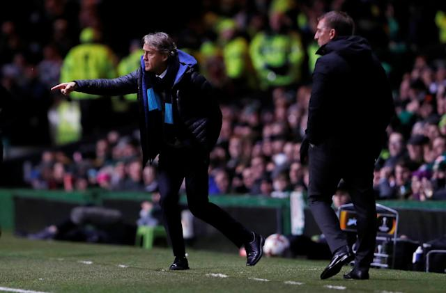 Soccer Football - Europa League Round of 32 First Leg - Celtic vs Zenit Saint Petersburg - Celtic Park, Glasgow, Britain - February 15, 2018 Zenit St. Petersburg coach Roberto Mancini and Celtic manager Brendan Rodgers Action Images via Reuters/Lee Smith