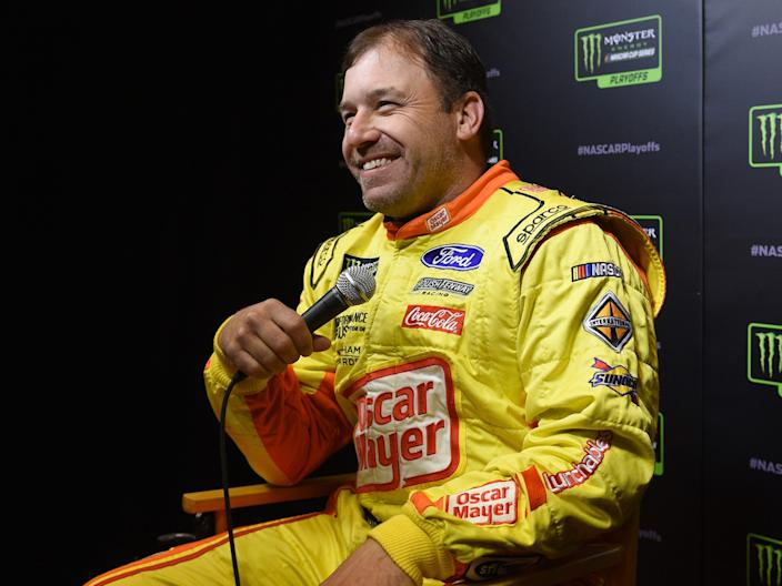 Ryan Newman speaks with members of the media during the Monster Energy NASCAR Cup Series Playoffs Media Day at the South Point Hotel & Casino on September 12, 2019 in Las Vegas, Nevada.