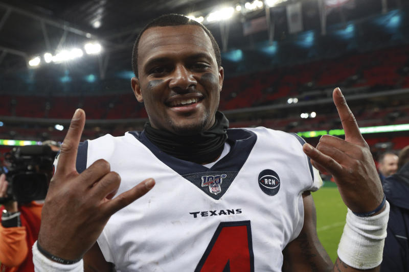 Houston Texans quarterback Deshaun Watson (4) celebrates after an NFL football game against the Jacksonville Jaguars at Wembley Stadium, Sunday, Nov. 3, 2019, in London. The Houston Texans won 26-3. (AP Photo/Ian Walton)