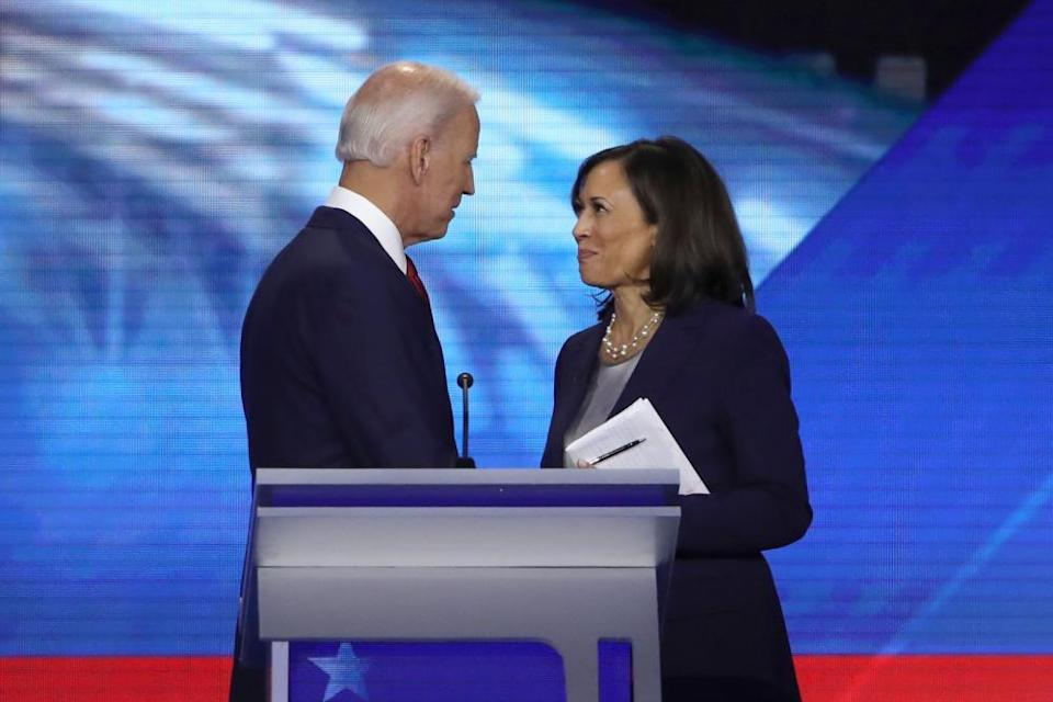 Biden and Harris speak after the Democratic presidential debate at Texas Southern University in September in Houston.