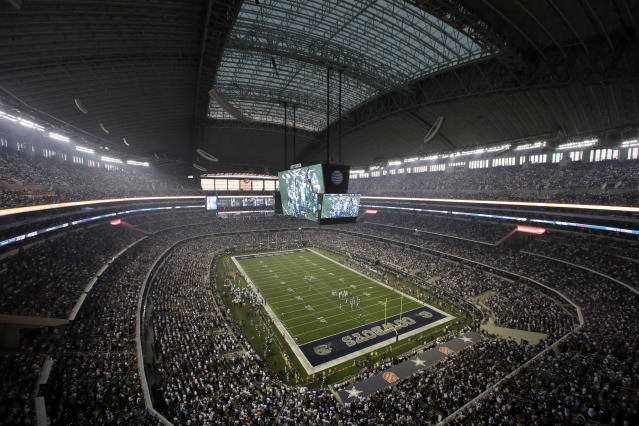 <p> FILE - In this Sept. 8, 2013, file photo, fans watch at the start of an NFL football game between the New York Giants and Dallas Cowboys, in Arlington, Texas. The owboys are worth $4.2 billion, making them the most valuable sports franchise for the second straight year, according to Forbes. (AP Photo/Tony Gutierrez, File) </p>