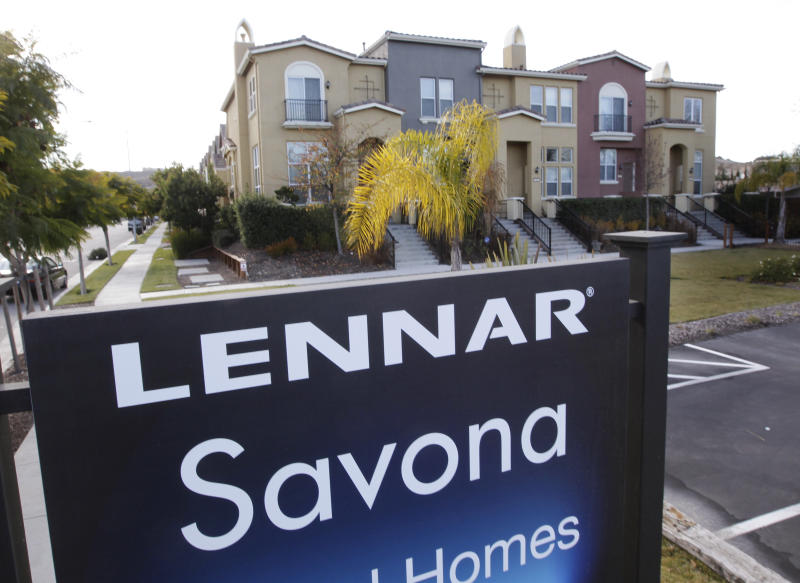 FILE - In this Jan. 6, 2012, file photo, Lennar homes are advertised for sale in San Jose, Calif. Lennar Corp. reports earnings Monday, Dec. 19, 2016. (AP Photo/Paul Sakuma, File)