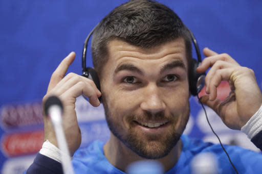 Australia goalkeeper Mathew Ryan listens to a question during the official press conference on the eve of the group C match between Peru and Australia at the 2018 soccer World Cup in the Fisht stadium, in Sochi, Russia, Monday, June 25, 2018. (AP Photo/Andre Penner)