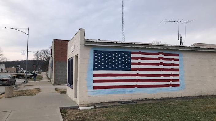 Main Street - US flag on building