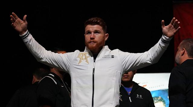 "<p>Canelo Alvarez took to the ring at T-Mobile Arena on Saturday night to face Gennady Golovkin in the main event with all of Golovkin's unified middleweight titles.</p><p>Alvarez, 27, has a 49–1–1 record with 34 knockouts. His only loss came against Floyd Mayweather Jr. </p><p>Golovkin, the favorite in the fight, is defending his middleweight title for the 19th time. GGG holds the IBO, IBF, WBA and WBC middleweight world championships. Prior to his most recent fight against Daniel Jacobs, which he won by decision, GGG had won 23 consecutive fights by either knockout or RTD. Alvarez has won seven straight fights after his loss to Mayweather. Canelo's last fight was an unanimous decision victory over Julio Cesar Chavez Jr. in which Canelo won every round. This is his first career fight at 160 pounds.</p><p><em>Watch Alvarez's walkout with a Mexican flag:</em></p><p>Saturday night's match has been highly anticipated for years and looks to be a crowning moment for boxing's next signature star.</p><p>You can follow along with all of Saturday's action on <a href=""https://www.si.com/boxing/2017/09/16/canelo-alvarez-gennady-golovkin-ggg-fight-live-blog-updates-analysis"" rel=""nofollow noopener"" target=""_blank"" data-ylk=""slk:SI.com's live blog"" class=""link rapid-noclick-resp"">SI.com's live blog</a>.</p>"
