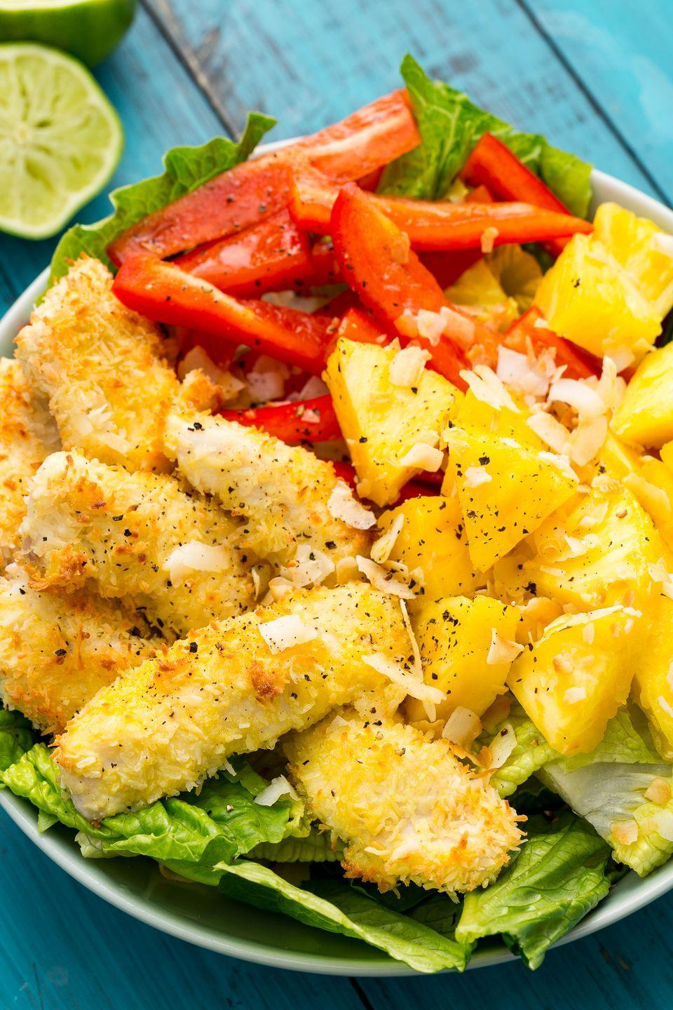 """<p>We're obsessed with the crunchy coconut chicken.</p><p>Get the recipe from <a href=""""https://www.delish.com/cooking/recipe-ideas/recipes/a47338/pina-colada-chicken-salad-recipe/"""" rel=""""nofollow noopener"""" target=""""_blank"""" data-ylk=""""slk:Delish"""" class=""""link rapid-noclick-resp"""">Delish</a>.</p>"""