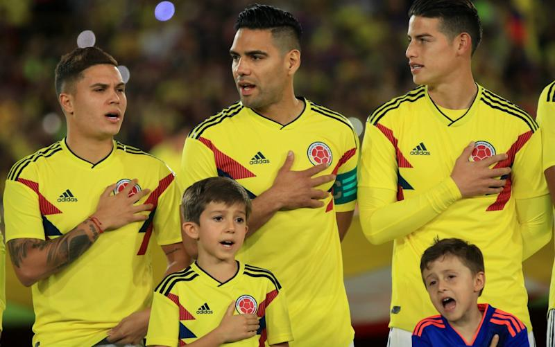 Radamel Falcao (centre) and James Rodriguez (right) are two of Colombia's superstars - Anadolu