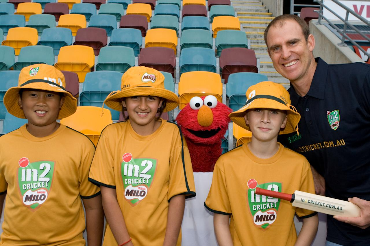 BRISBANE, AUSTRALIA - JULY 21: Australian cricketer Matthew Hayden and Seasame Street's Elmo pose as they launch in2CRICKET.com.au, the new entry level program for boys and girls, at the Gabba on July 21, 2008 in Brisbane, Australia. (Photo by Getty Images)