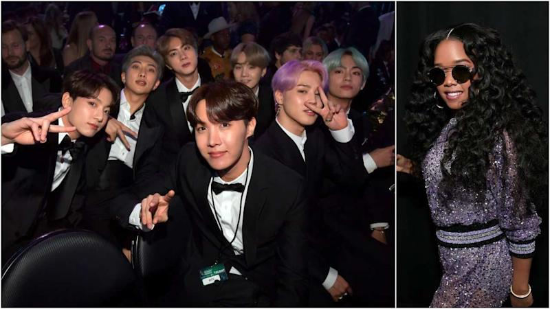 bts presents best r b album to h e r at 2019 grammy awards yahoo sports