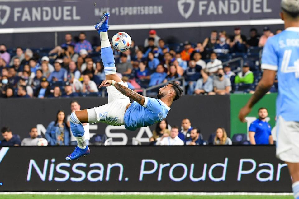 Valentin Castellanos attempts a bicycle kick during NYCFC's 2-0 win against the New England Revolution at Yankee Stadium on Aug. 28.