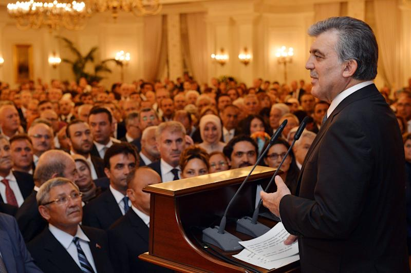 Turkey's outgoing president Abdullah Gul makes a speech during a reception at the Presidential Palace of Cankaya, in Ankara, on August 19, 2014 (AFP Photo/Murat Cetinmuhurdar)
